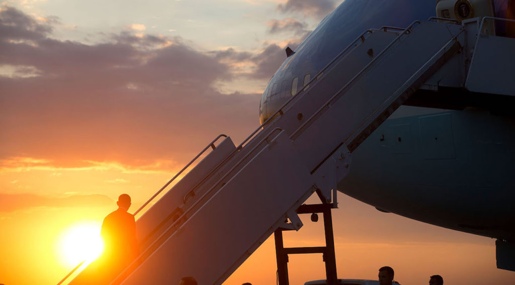President Barack Obama boards Air Force One at Yangon International Airport for departure from Burma en route to Australia, Nov. 14, 2014. (Official White House Photo by Chuck Kennedy) This official White House photograph is being made available only for publication by news organizations and/or for personal use printing by the subject(s) of the photograph. The photograph may not be manipulated in any way and may not be used in commercial or political materials, advertisements, emails, products, promotions that in any way suggests approval or endorsement of the President, the First Family, or the White House.