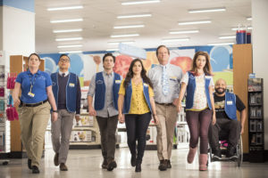 SUPERSTORE -- Season 1 -- Pictured: (l-r) Lauren Ash as Dina, Nico Santos as Mateo, Ben Feldman as Jonah, America Ferrera as Amy, Mark McKinney as Glenn, Nichole Bloom as Cheyenne, Colton Dunn as Garrett -- (Photo by: Brandon Hickman/NBC)