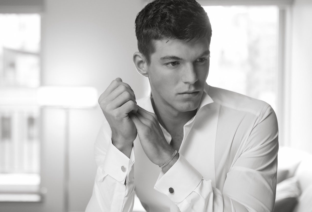 PRIVATE HOLIDAY black and white model in dress shirt